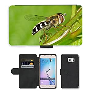 PU LEATHER case coque housse smartphone Flip bag Cover protection // M00135464 Insectos dípteros Esceva pyrastri // Samsung Galaxy S6 (Not Fits S6 EDGE)