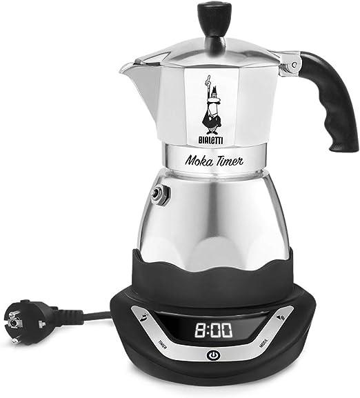 Bialetti Moka Timer, cafetera de aluminio con base eléctrica que se puede programar, 6 tazas: Amazon.es: Hogar