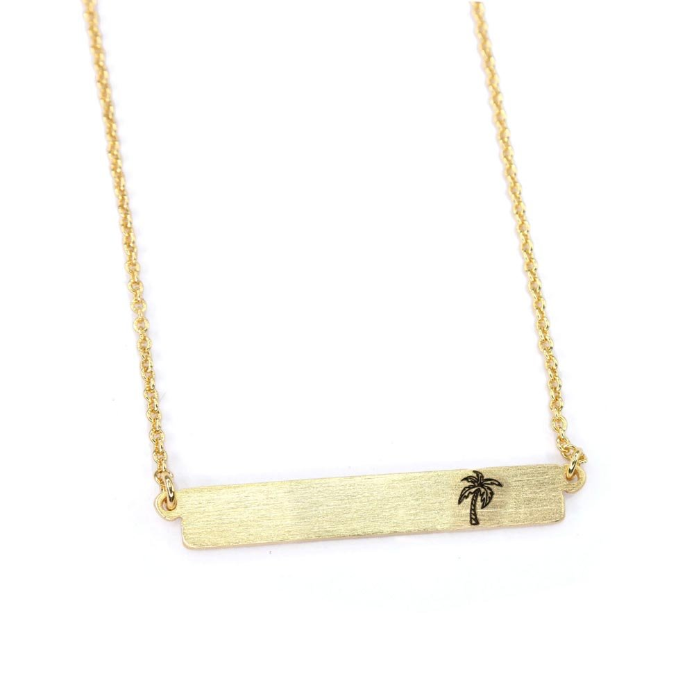Palm Tree Necklace, Summer Necklace, Horizontal Bar Necklace, Minimalist Necklace, Statement Necklace, Gold Necklace BN973-G3