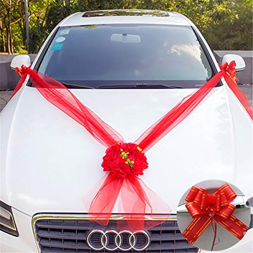 Accessories Event - DIY Wedding Car Flower Plate 10 Ribbon Bows Set Door Handle Ornament Supplies Party Events Accessories Wedding Decoration Katoot (Red)