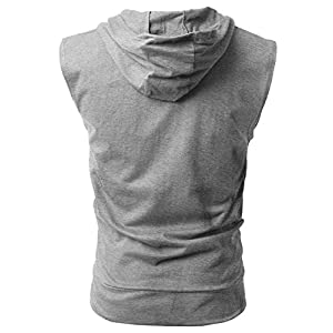 PAIZH Men's Sleeveless Workout Hoodie Zip-up Vests Gym Bodybuilding Lifting Tank Tops