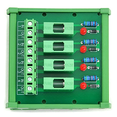 Electronics-Salon 4 Channel Fuse Interface Module,for 100~250VAC, Din Rail Mount,w/Fail Indicator