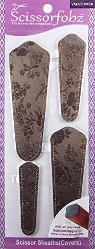 Scissor Sheath (Scissors by SCISSORFOBZ with ScissorGripper -VALUE PACK-4 sizes- Designer Scissor sheaths Covers Holders for embroidery sewing quilting - Quilters sewers gift - Antique Bronze Floral. #27)