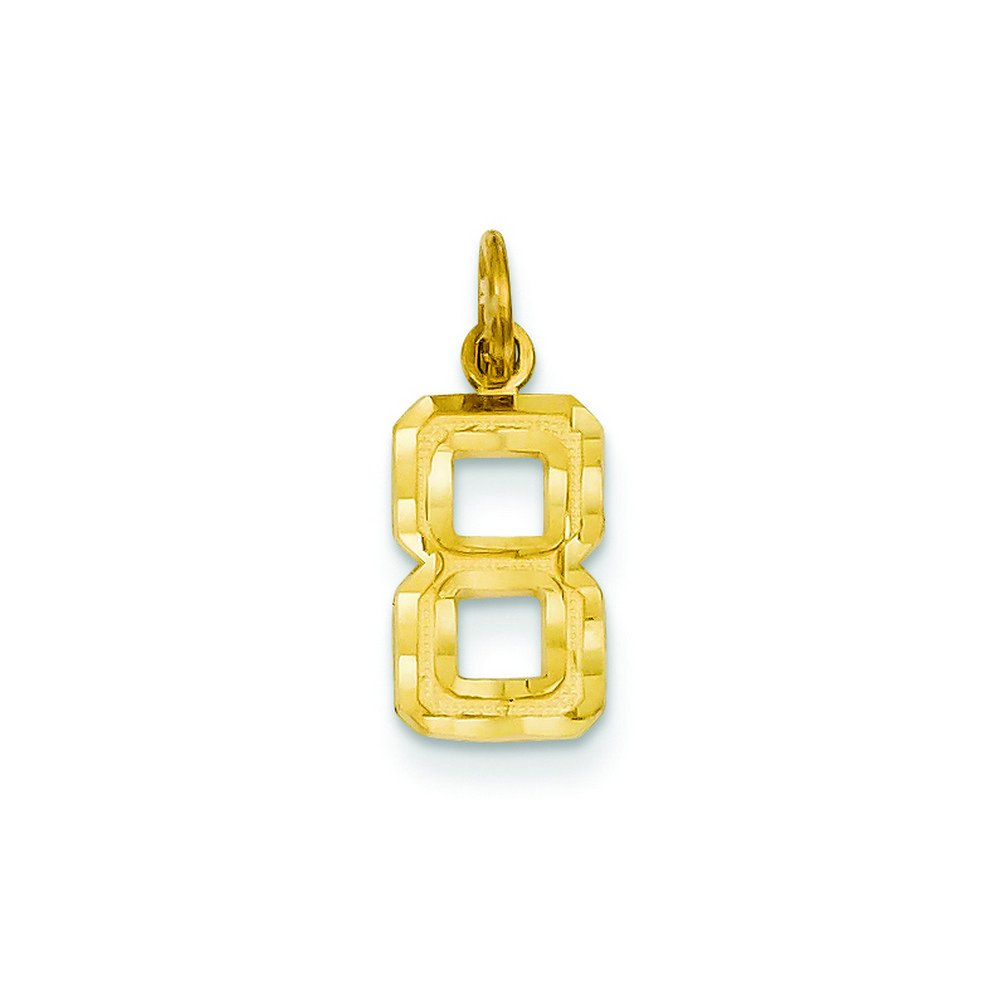 14ky Casted Small Diamond Cut Number 8 Charm