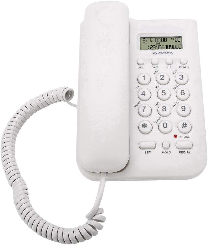 ASHATA Telefono Fijo FSK/DTMF,Telefono con Cable Mesa para Casa/Oficina/Hogar/Hotel,etc.Sobremesa(Blanco)