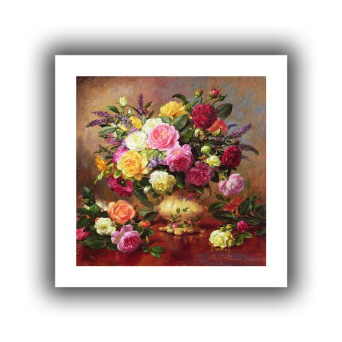 Art Wall williams-b-007-36x36 Albert Williams 'Roses from a Victorian Garden' Unwrapped Canvas Artwork, 40 by 40-Inch