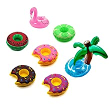 Miraclekoo Inflatable Pool Party Drink Floats Swimming Drink Holder - Fruits, Donuts, Flamingo , Palm (Set of 7)