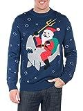 Men's Sea Sleigher Sweater - Santa Shark Ugly Christmas Sweater: Large Blue