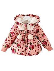 Girls Fleece Winter Warm Jacket Gown Hoodie Outwears with Cute Polka Dot