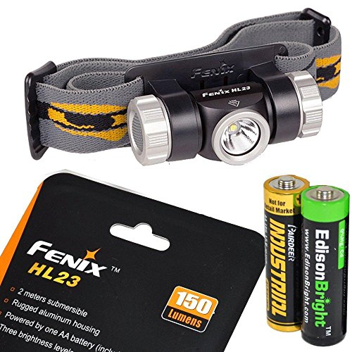 Fenix HL23 150 Lumen light weight CREE XP-G2 R5 LED Headlamp (Cadet Grey color) with EdisonBright AA alkaline battery bundle