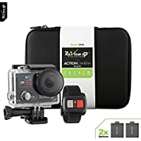 Review XP 4K Action Camera 14MP HD Wi-Fi Waterproof 30fps Sports Video Underwater Camcorder 170° Angle Dual Screen 2 Batteries Accessories Kit Carrying Case Remote Control - Black