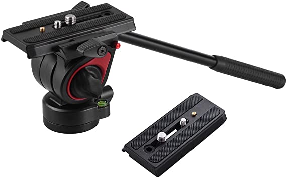 Docooler miliboo Video Camera Tripod Action Fluid Drag Head Hydraulic Pan Tilt Head with 2pcs Quick Release Plate for Canon Nikon Sony DSLR