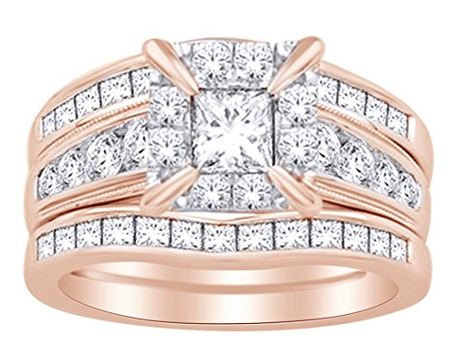 - 1.9 Cttw White Natural Diamond Enhancer Bridal Engagement Ring Set in 14k Rose Gold Ring size - 5