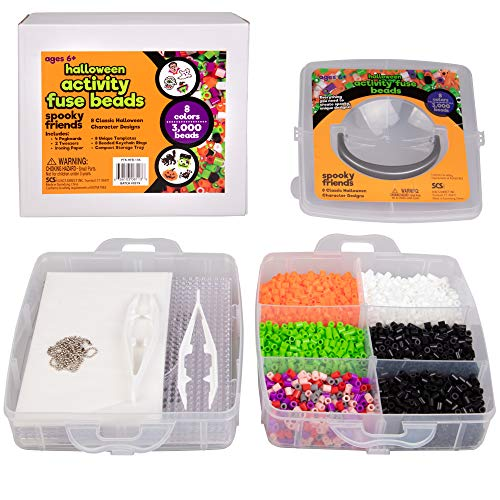Spooky Halloween Crafts Adults (3000 Pc Fuse Bead Kit w 8 Keychains - Create 8 Unique Holiday Decorations w Fun Spooky Monster Ornament - Great Kids and Adults Christmas DIY Craft Toy Gifts -)