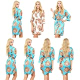 Mr & Mrs Right Set Of 7 Women's Satin Short Floral Wedding Robes - Bridesmaids Dressing Gown
