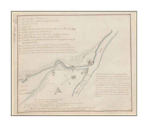 1756 Wall Map: Fort Carillon & environs Previous British Library cataloguing has combined this & previous |Ready to Frame|Historic Antique Vintage Reprint New York|George, - George Outlet Lake
