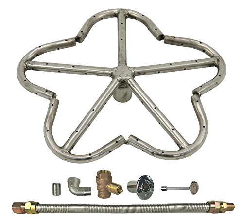 Spotix HPC Penta Fire Pit Burner Kit (FPS-PENTA12KIT-NG-MSCB), 12-Inch Burner, Match Light, Natural Gas