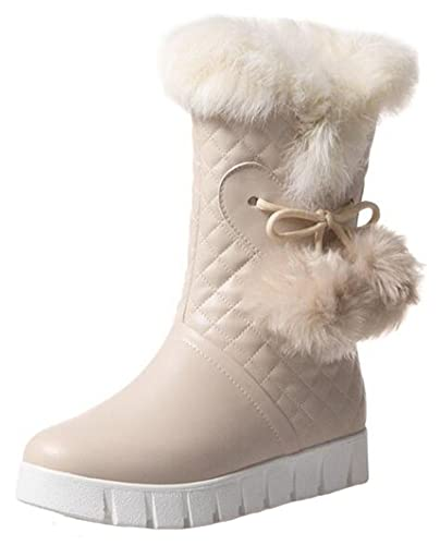 Women's Warm Fluffy Faux Fur Pompon Plaid Round Toe Flats Fleece Lined Slip-on Mid Calf Snow Boots