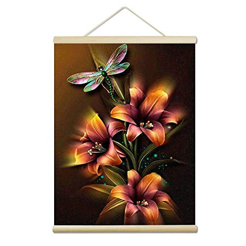 Onlyesh Diamond Painting Kits Wooden Hanger Canvas Frame Full Drill Round Diamond Art for Home Wall Decor (Dragonfly Flower)