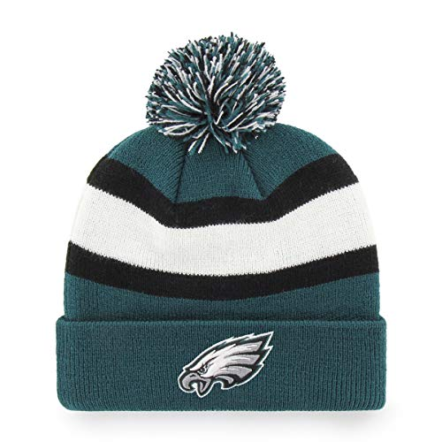 Cuff Knit Hat - NFL Philadelphia Eagles Rush Down OTS Cuff Knit Cap with Pom, Pacific Green, One Size