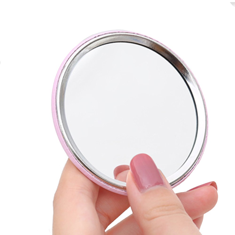 One Piece of Female's Portable Lovely Cartoon Makeup Mirror, Small Round Mirror, Pocket Cosmetic Mirror (Random Pattern)