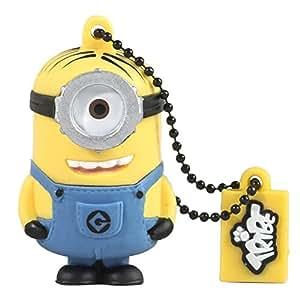 Tribe Los Minions Despicable Me Stuart - Memoria USB 2.0 de 8 GB Pendrive Flash Drive de goma con llavero, color amarillo