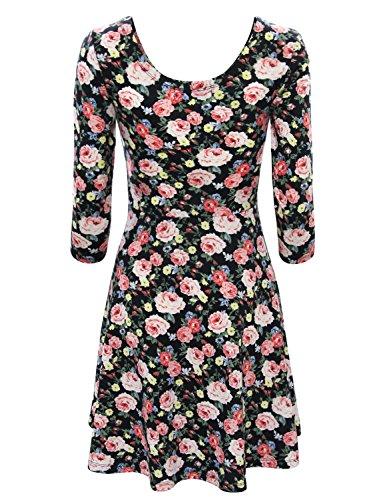 Tom's Ware Women Elegant Floral Print Long Sleeve Scoop Neck Flare Dress TWCWD100-BLACK-US XXL