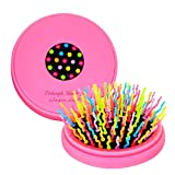 CANDYLOVE Detangling & Volumizing Hair Straightening Brush with Mirror. Patented S-Curl Rainbow Bristles Works for Thick, Thin, Straight, Curly, Wet, or Dry for Natural Volume Styling [Compact, Pink]