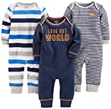 Simple Joys by Carter's Baby Boys' 3-Pack Jumpsuits, Gray, Multi Stripe, Navy Stripe, 12 Months