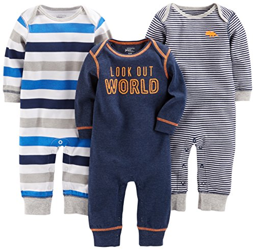 Simple Joys by Carter's Baby Boys' 3-Pack Jumpsuits, Gray, Multi Stripe, Navy Stripe, 3-6 Months (Baby Clothes Boy)