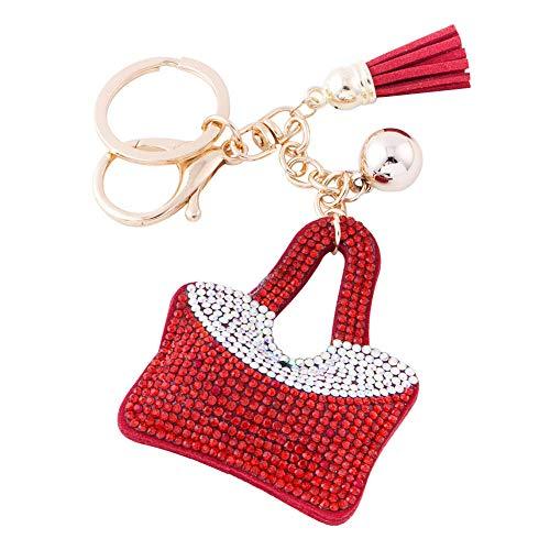 - Soleebee Glitter Handbag Keychain Premium SS6 Crystal Tassel Key Chain Leather Bag Charm for Women Girls (Red)