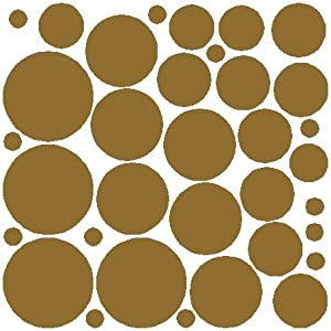 34 Gold Polka Dot Wall Stickers Removable Dot Wall Decals Part 82