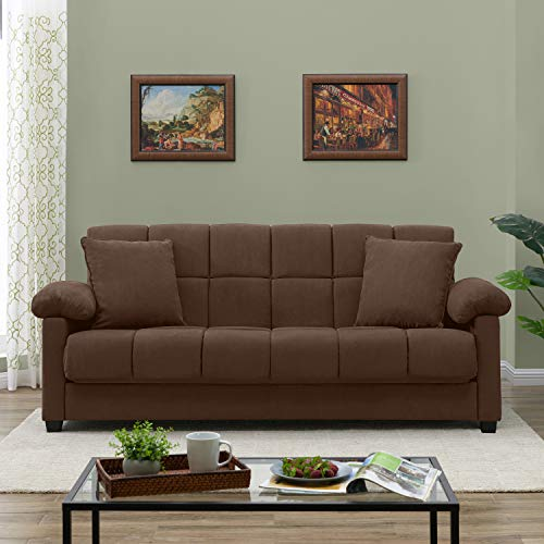 Handy Living Maurice Pillow Top Arm Convert-A-Couch in Dark Brown Microfiber ()