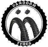 Vandorm 26' x 2.30' DH Mountain Bike MTB Tyres & Presta Tubes (Pair)
