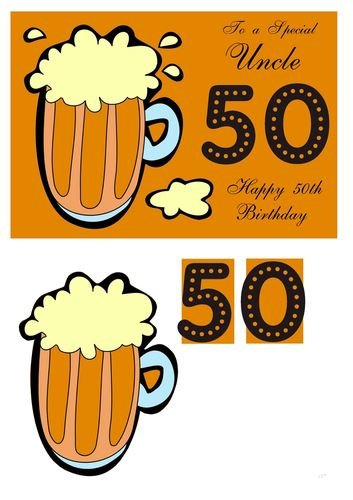 50th Birthday card for Uncle with pint of beer by Julie Hassall Craftsuprint