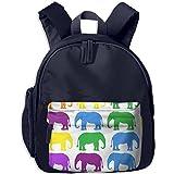 Unisex Baby Kid Colorful-elephant-wallpaper Preschool Shoulder School Bag Navy