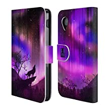 Head Case Designs Purple Howling Wolf Northern Lights Leather Book Wallet Case Cover For LG Nexus 5