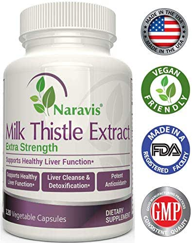 Naravis Milk Thistle Extract - 2000mg - 120 Veggie Capsules - Extra Strength 4X Concentrated Extract - 4:1 Silymarin Extract for Liver Support, Cleanse, Detox & Health - Non-GMO
