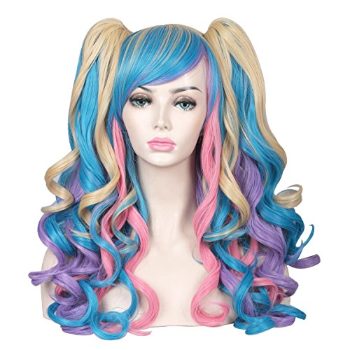 ColorGround Long Curly Cosplay Wig with 2 Ponytails(Pink/Blue/Blonde) -