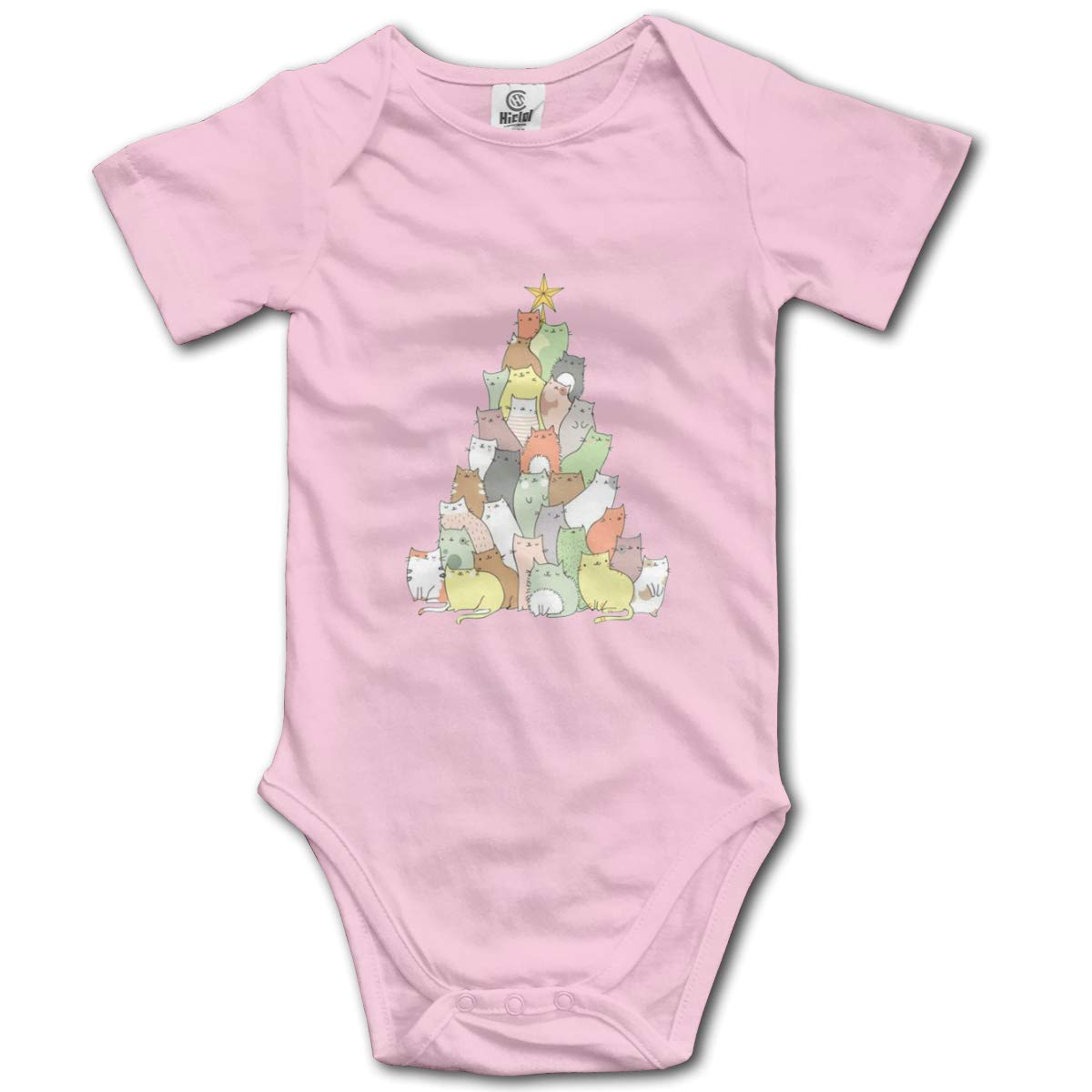 Cat As Christmas Tree Baby Romper 0-18 Months Newborn Baby Girls Boys Layette Rompers Black