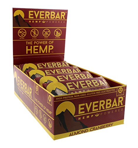 EverBar Protein Bar - Almond Cranberry - 16 Bars - ONLY 7 Ingredients - 12g of Protein - Clean Energy Meal Replacement - Gluten-