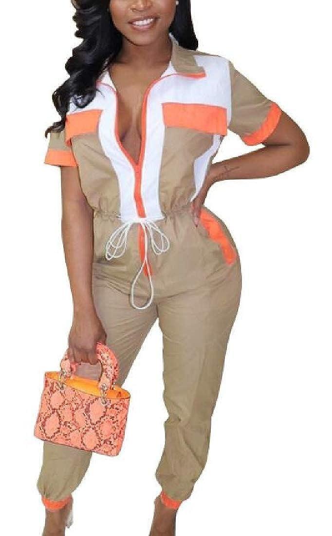 SELX Women Zip-Up Contrast Color Club Pockets Classic Jumpsuits Romper