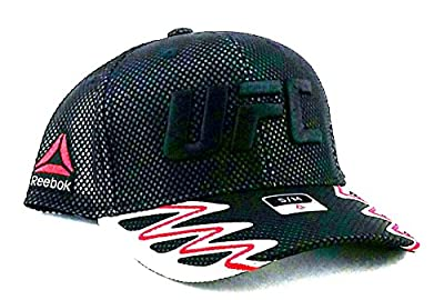 UFC Reebok MMA New Fighter Black Red Luxe Lined Mesh Flex Fitted Era Hat Cap S/M by ufc