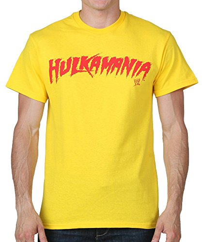 WWE Hulk Hogan Hulkamania Mens Yellow Short Sleeve T-shirts 2X-Large