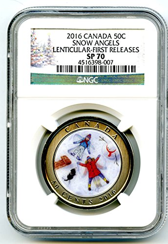2016 Canada SNOW ANGELS LENTICULAR 3D FIRST RELEASES RARE 50 CENT POP ONLY 7! HALF DOLLAR SP70 NGC