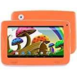 7 Kids Tablet PC, Android 4.4 8GB ROM 1G RAM Tablet Dual Camera WiFi USB Phablet Silicone Case