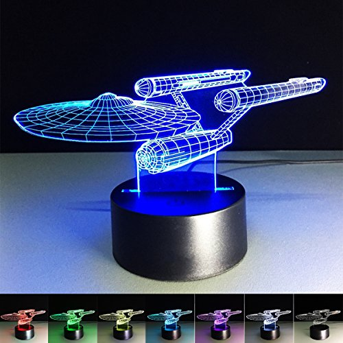 Amazing 3D Illusion LED Night Light Lamp Interstellar Desk Table Night Light Lamp 7 Color Change Acrylic Press Lamp Kids Children Holiday Gift Home Office Baby Room Decoration Night Light