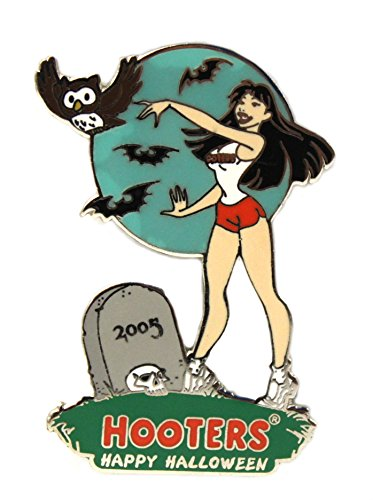 Hooters Happy Halloween Girl in Graveyard Lapel Pin Tombstone/Bats/Skull Head ()