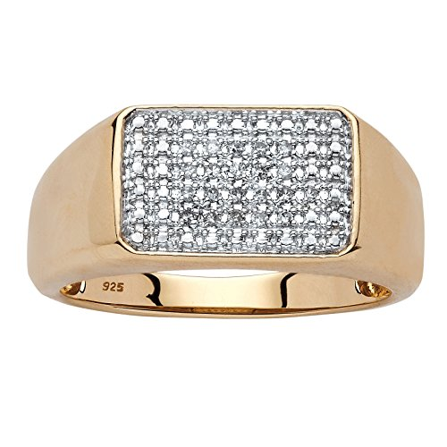 - Men's White Diamond 18k Yellow Gold over .925 Silver Square Ring (.10 cttw, HI Color, I3 Clarity) Size 13