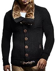 Leif Nelson LN7100 Men's Turtleneck Cardigan with Faux Fur Collar
